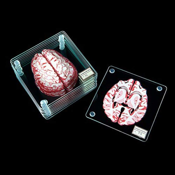 Glass coasters that look like they have slices of brain on them