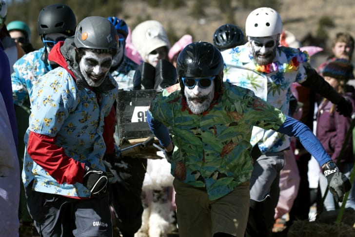 Coffin racing at the Frozen Dead Guy Days festival in Nederland, Colorado in 2019