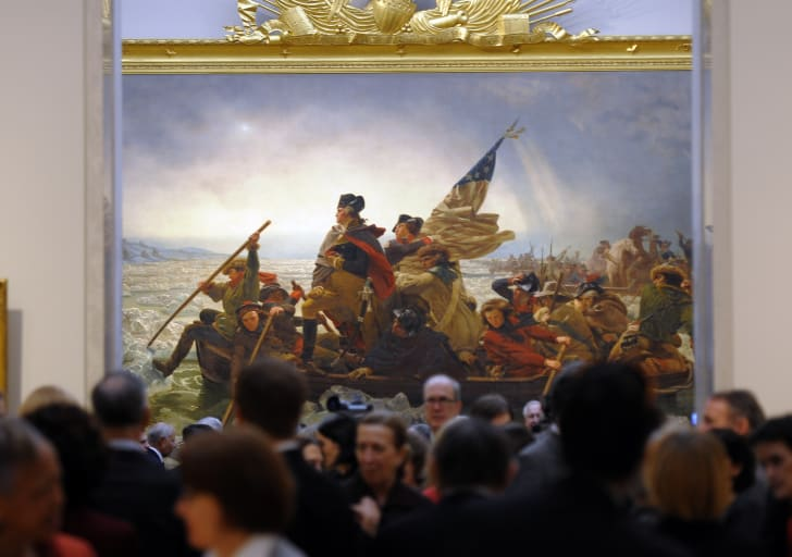 Emanuel Gottlieb Leutze's 1851 painting 'Washington Crossing the Delaware' during a press preview at the Metropolitan Museum of Art
