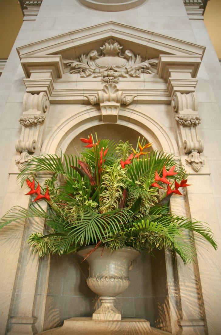 A tropical flower arrangement in the Met's Great Hall