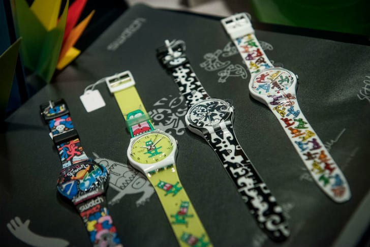 A selection of Swatch watches are seen on display
