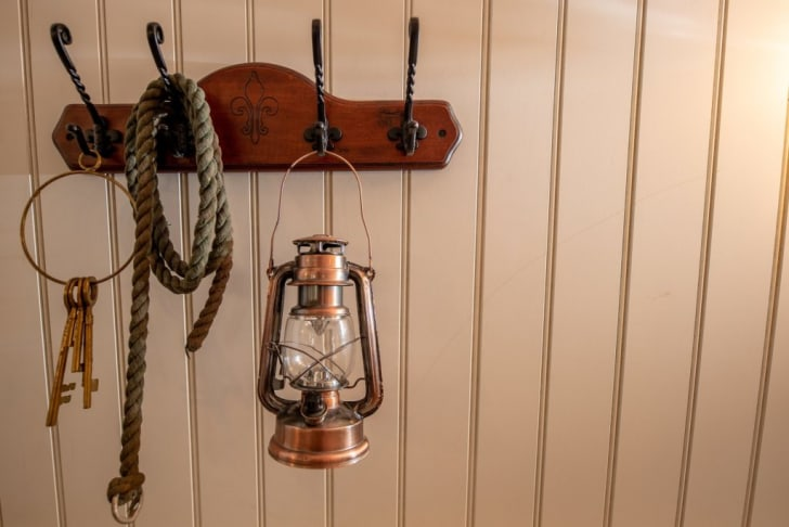 Lantern and rope hanging in Hagrid's hut