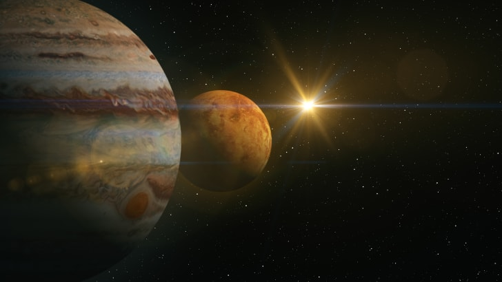 Jupiter and Mars in the solar system