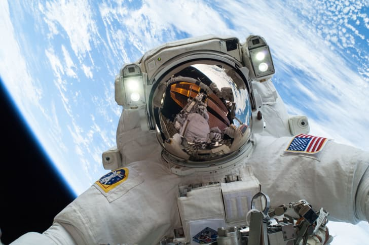 NASA astronaut performing a spacewalk