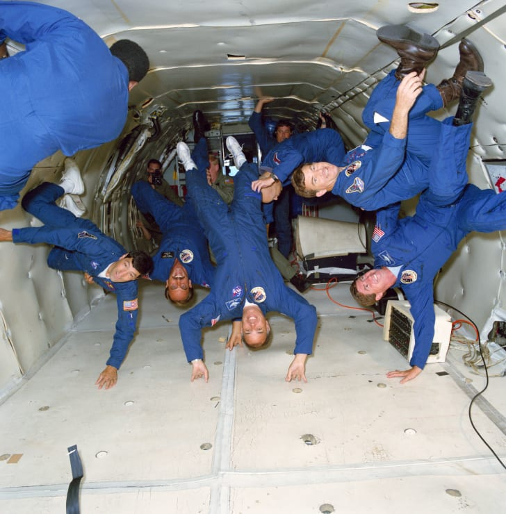 NASA astronauts experiencing decreased gravity