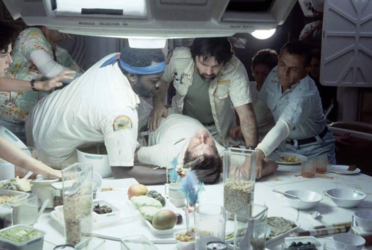 Sigourney Weaver, Ian Holm, John Hurt, Tom Skerritt, Veronica Cartwright, Yaphet Kotto, and Harry Dean Stanton in Alien (1979)