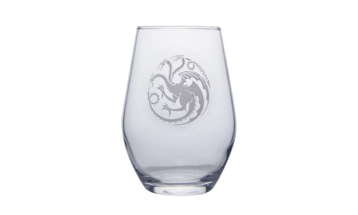 A tapered stemless glass with the Targaryen Sigil on it
