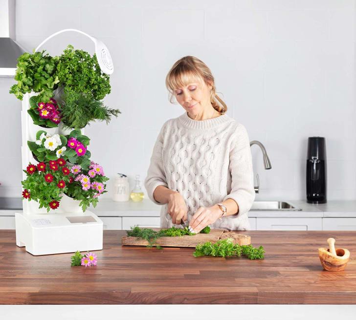 A woman chops vegetables next to her indoor garden
