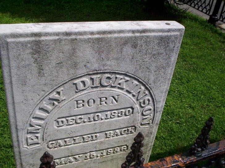 Poet Emily Dickinson's gravestone