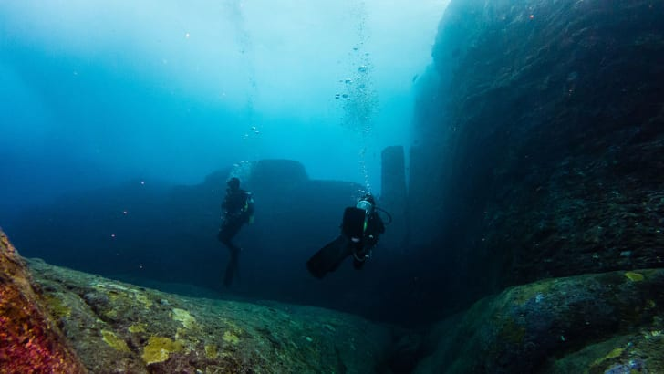An underwater area known as the Twin Megaliths at the Yonaguni Monument