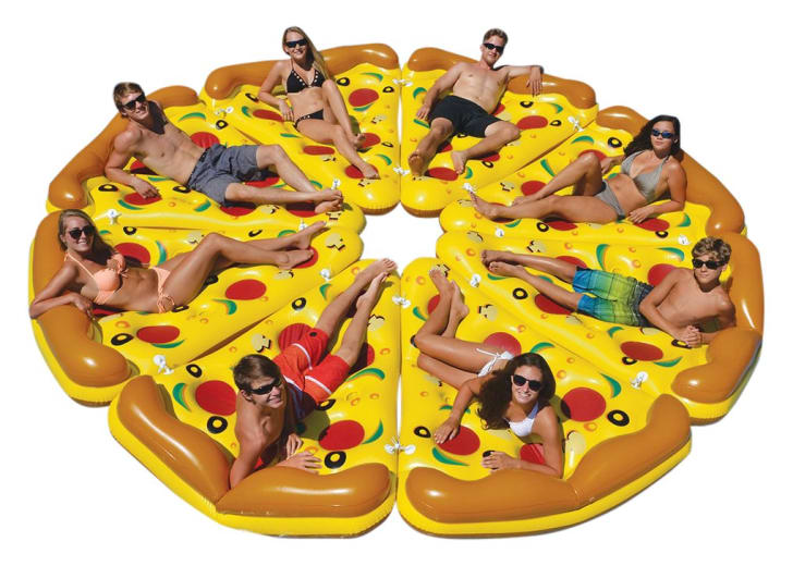 Pizza pie inflatable with one person on each slice