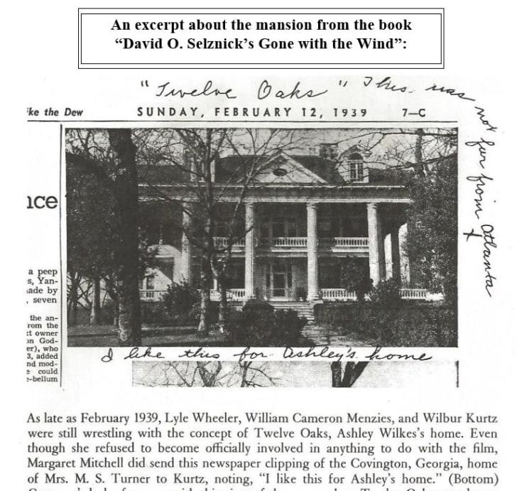 Twelve Oaks newspaper clipping that Margaret Mitchell sent to David O. Selznick