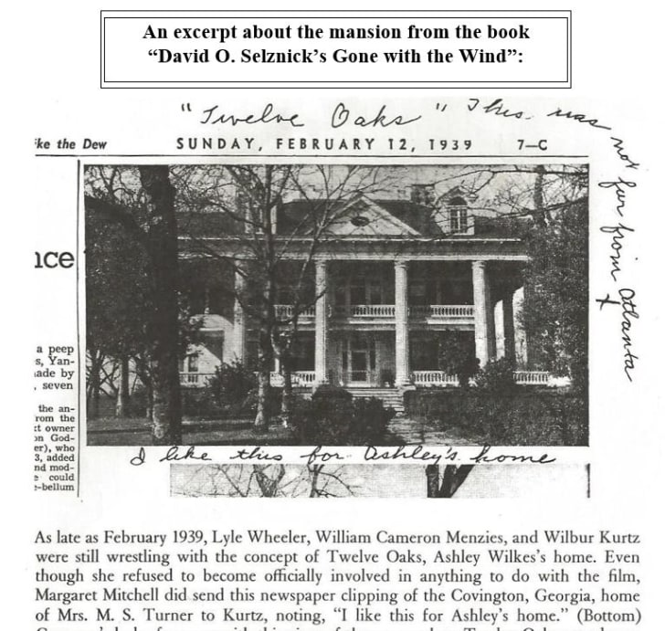 Twelve Oaks newspaper clipping that Margaret Mitchell sent to David O. Selznick