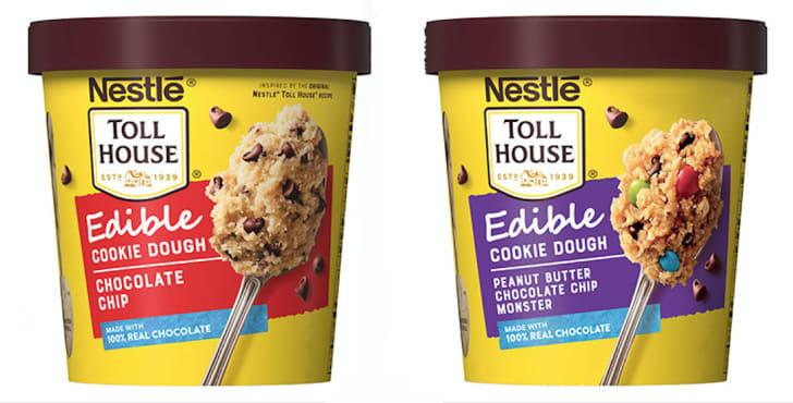 Edible cookie dough in tubs.