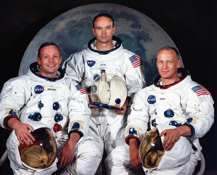 L to R: Neil A. Armstrong, Apollo 11 commander; Michael Collins, command module pilot; and Edwin E. Aldrin Jr., lunar module pilot