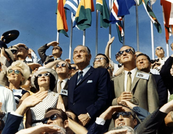 Vice President Spiro Agnew And Former President Lyndon Johnson View The Liftoff Of Apollo 11 From The Stands Located At The Kennedy Space Center Vip Viewing Site
