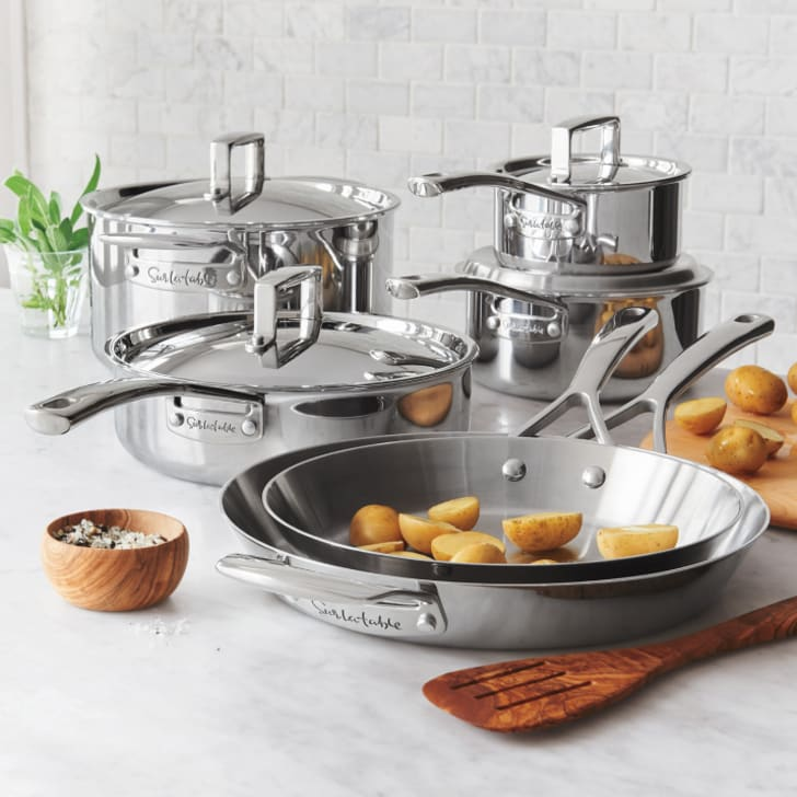 A stainless steel cookware set