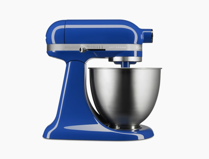 A blue KitchenAid mini stand mixer