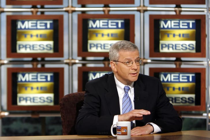 """White House Chief of Staff Joshua Bolten speaks during a taping of """"Meet the Press"""" in 2006."""