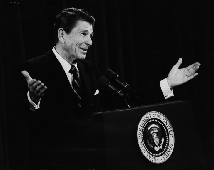 President Ronald Reagan speaking during a press conference in 1981.