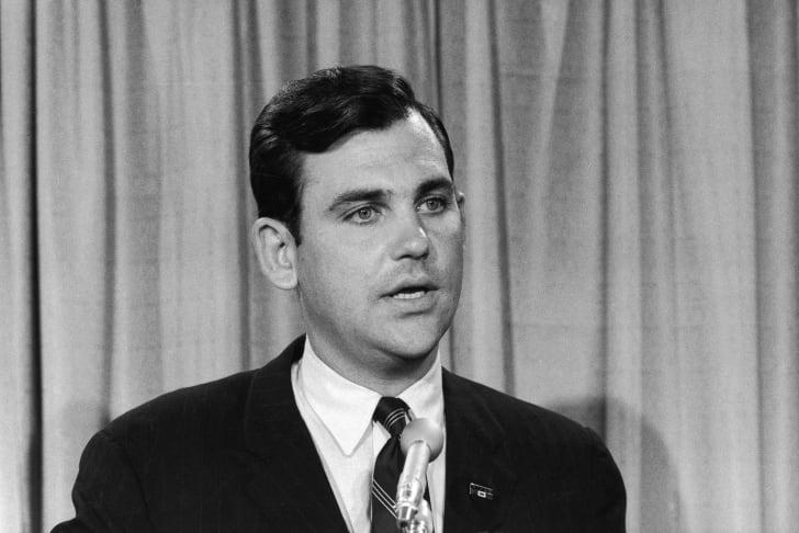 Ron Ziegler, Press Secretary to U.S. President Richard Nixon, speaks during a news conference in 1968.