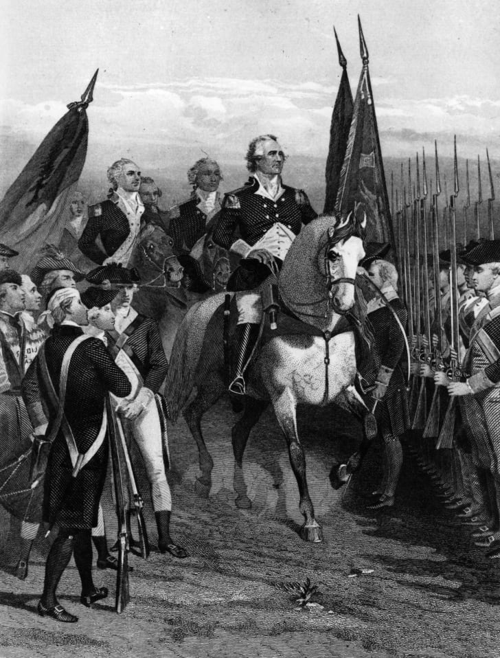 General George Washington inspects his troops