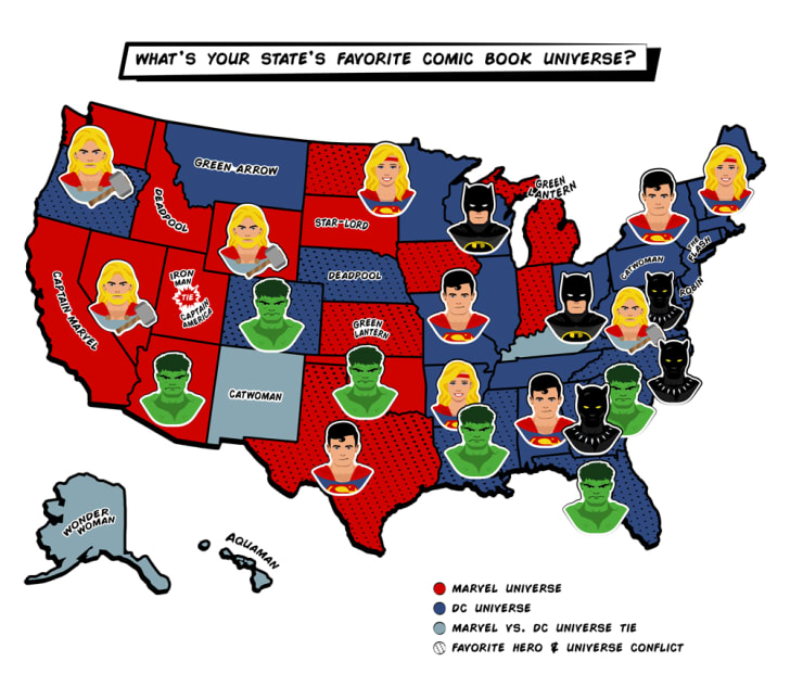 Illustrated map showing most popular comic book universe in each state