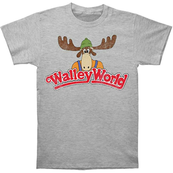 A t-shirt depicting the Wally World logo from the 1983 film 'National Lampoon's Vacation' is pictured