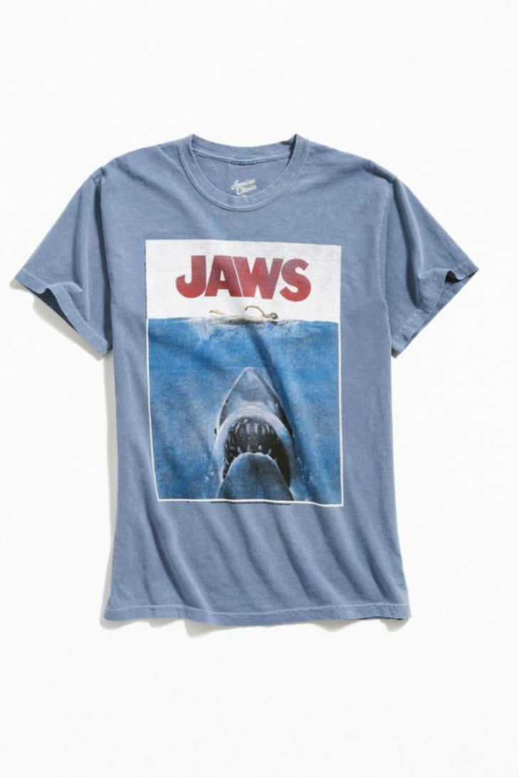 A t-shirt depicting the poster from the 1975 film 'Jaws' is pictured