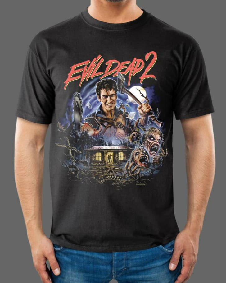 A t-shirt depicting Bruce Campbell as Ash in the 1987 film 'Evil Dead 2': Dead by Dawn' is pictured