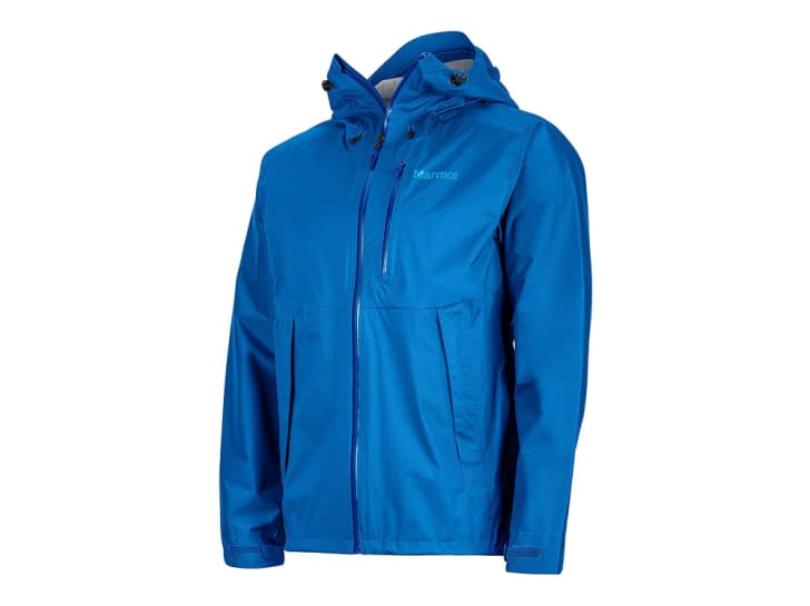 A blue rain jacket