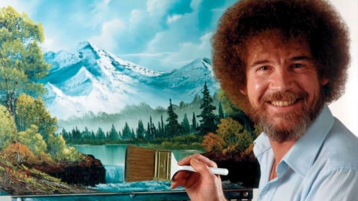 Bob Ross painting landscape.