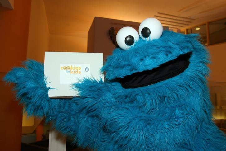 Cookie Monster is photographed during an appearance at the Midweek Morning Show at Children's Hospital Boston in Boston, Massachusetts in 2010