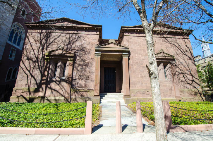 """The Skull and Bones """"tomb,"""" or clubhouse, at Yale"""