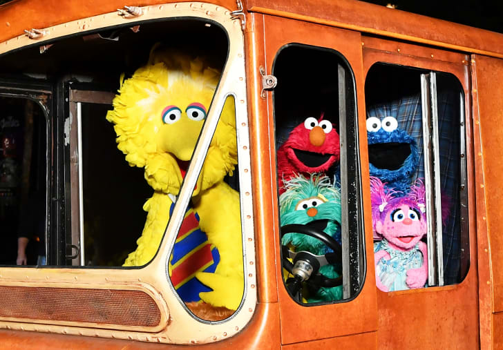 Sesame Street Characters (L-R) Big Bird, Elmo, Cookie Monster, and Abby Cadabby attend HBO Premiere of Sesame Street's The Magical Wand Chase at the Metrograph on November 9, 2017 in New York City