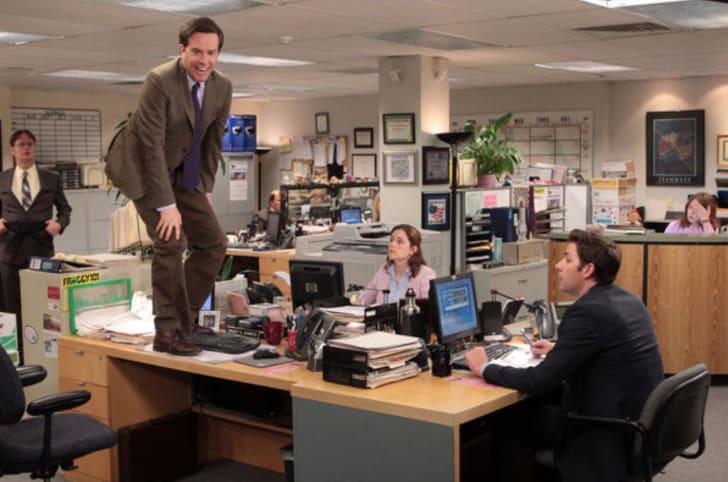 Jenna Fischer, Rainn Wilson, John Krasinski, Ed Helms, and Ellie Kemper in 'The Office'