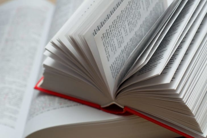 Open pages of a dictionary.