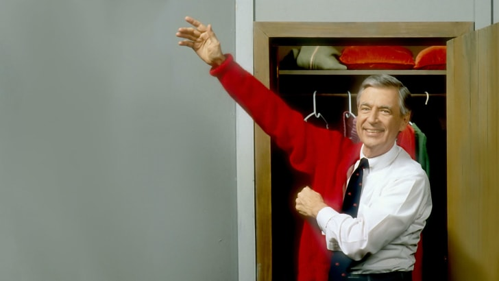 A promotional image of Fred Rogers for 'Mister Rogers' Neighborhood' is pictured