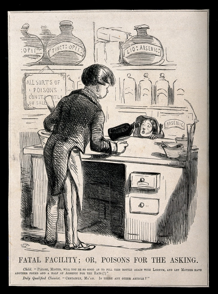 A satirical engraving of an unscrupulous chemist selling a child arsenic and laudanum (tincture of opium)