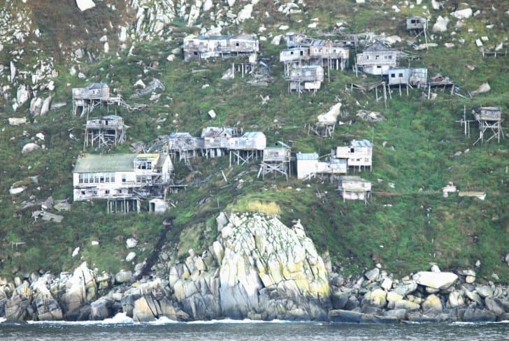 An abandoned village in King Island, Alaska