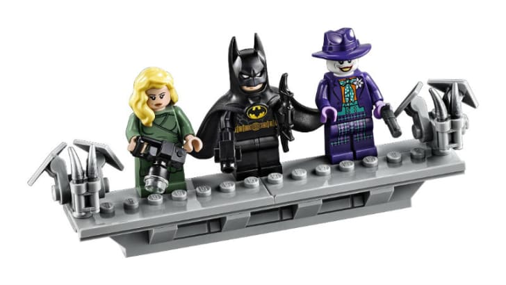 The LEGO DC Batman 1989 Batmobile minifigures are pictured