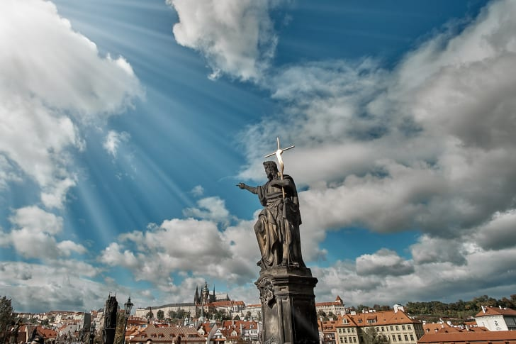 Statue of John the Baptist on the Charles Bridge in Prague