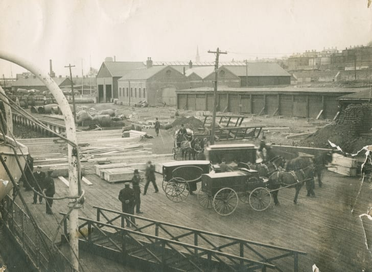 Hearses and coffins for Titanic victims in Halifax