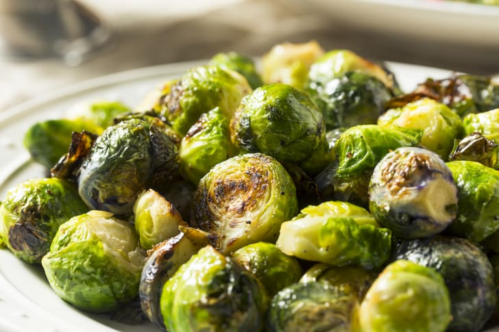 Brussels sprouts in a dish.