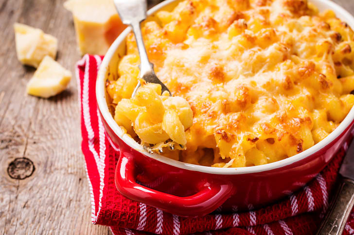 Macaroni and cheese in a pan.