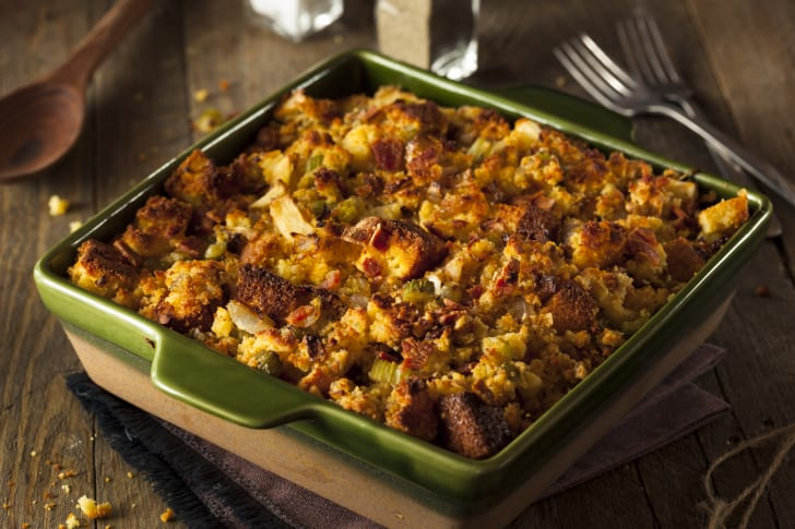 Stuffing in a pan.