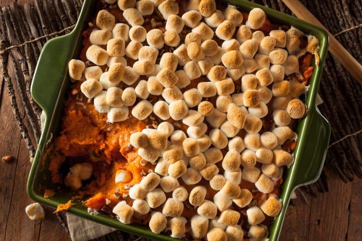 Sweet potato casserole with marshmallows.