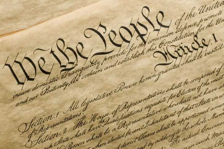 Copy of the United States Constitution close up.