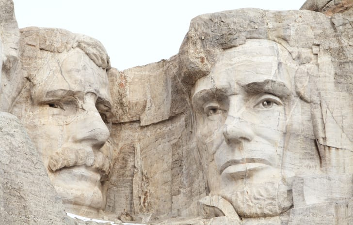 Close view of Theodore Roosevelt and Abraham Lincoln on Mt. Rushmore