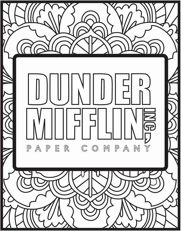 Image of a black-and-white coloring page with the fictional Dunder Mifflin, Inc. Paper Company logo